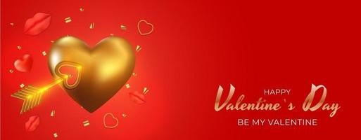 Valentine's Day Holiday Gift Card Background Realistic Design with 3d golden heart shape vector