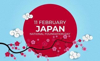 Fondo 3d realista del día de la fundación de la nación de Japón con flores de sakura. 11 de febrero. ilustración vectorial vector