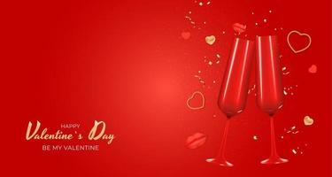 Valentine's Day Holiday Gift Card Background Realistic Design. vector