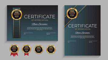 Blue and gold Certificate of achievement template set with gold badge and border vector