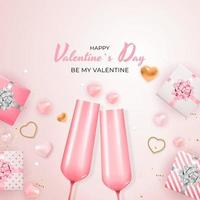 Valentine's Day Holiday Gift Card Square Template Pink Background vector
