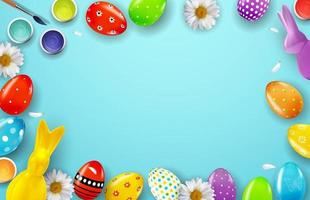 Easter poster copy space on blue background with 3d realistic Easter eggs vector