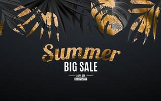Natural Realistic Black and Gold Palm Leaf Tropical Background. Summer Sale Concept. Vector illustration