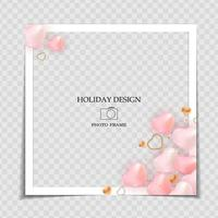 Holiday Background Photo Frame Template with 3d realistic heart shape. Valentine's Day Love Concept for post in Social Network