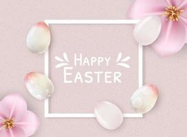 Happy easter poster template with white frame and pastel color eggs vector