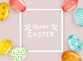 Happy easter poster template with white frame vector