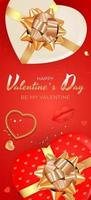 Valentine's Day Background Design. Template for advertising, web, social media and fashion ads. Poster, flyer, greeting card, header for website Vector Illustration