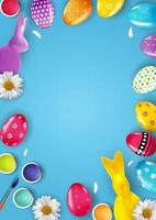 Easter poster template with 3d realistic Easter eggs. Template portrait for advertising, poster, flyer, greeting card. Vector Illustration