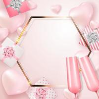 Valentine's Day Holiday Gift Card With 3d Realistic ornament and frame vector