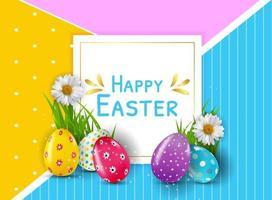plantilla de pascua con huevos de pascua multicolores realistas 3d vector