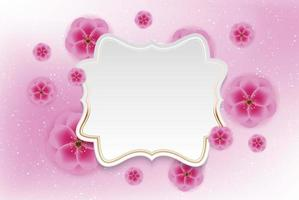 Realistic 3d Plum Flower Background with Golen Frame Template. Vector Illustration