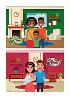 stay at home campaign with diverse families vector