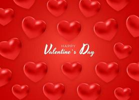 Happy saint valentine's day, 3d red hearts effect design vector