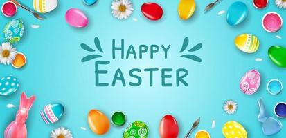 Easter poster template with 3d realistic Easter eggs on blue background