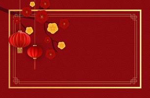 Abstract Chinese Holiday Background with hanging lanterns and plum flowers. vector