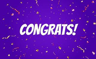 diseño de banner de felicitaciones con confeti y cinta brillante brillante para fondo de fiesta vector