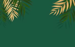 Abstract Realistic Green and Golden Palm Leaf Tropical Background. Vector illustration
