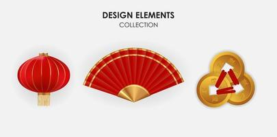 Realistic 3d Chinese Holiday Design Elements hanging lanterns, fan and gold coins collection set. Vector Illustration