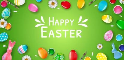 Easter poster template with 3d realistic Easter eggs on green background