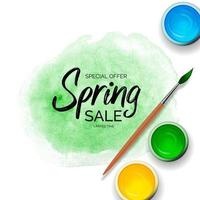 Spring Sale Background with green paint strokes, tins with gouache, acrylic and realistic 3d Wooden brush.
