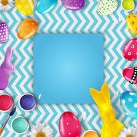Easter poster template with 3d realistic Easter eggs and empty frame