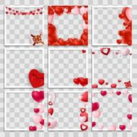 Empty Blank Photo Frame 3d set with Hearts Template for Media Post in Social Network for Valentine s Day.