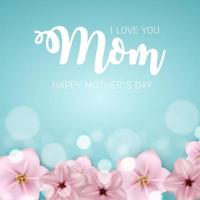 Thanks for everything, Mom. Happy Mother s Day Cute Background with Flowers. Vector Illustration