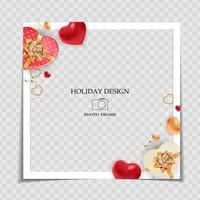Holiday Background Photo Frame Template. Valentine's Day Love Concept for post in Social Network