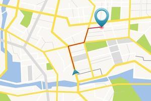 Mapa GPS con ilustración de vector de pin