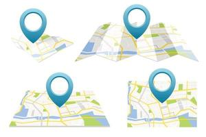 GPS map set with pin vector illustration set