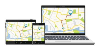 GPS satellite navigation system on screen vector