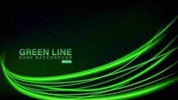 Green line of light on dark background vector