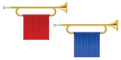 Ilustración de vector de trompetas de cuerno de oro aislado en blanco