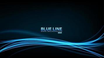 Blue line of light on dark background vector