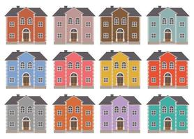 Ilustración de vector de edificio de casa aislado en conjunto de fondo blanco