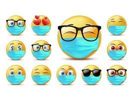 conjunto de caracteres de emoticonos de caras sonrientes vector