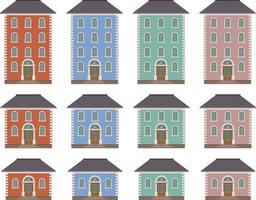 House building vector illustration isolated on white background set