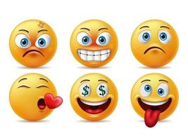 Smiling faces emoticon character set vector