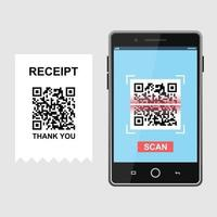 Scan QR code and pay receipt to smartphone set vector