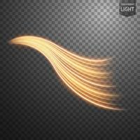 Abstract gold wavy line of light vector