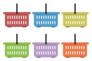 Conjunto de ilustración de vector de cesta de comestibles de color plano