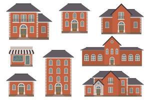 Ilustración de vector de edificio de casa aislado sobre fondo blanco