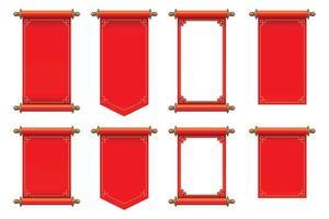 Set of red ancient scrolls vector illustration
