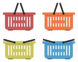 Flat colored grocery basket vector illustration set