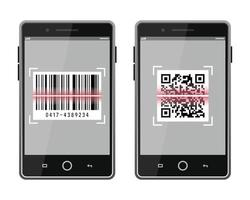 Scan QR code and barcode to smartphone set vector