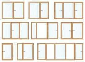 Realistic wooden windows vector illustration isolated on white