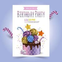 Beautiful cake with chocolate and candies and confetti. Holiday Invitation Vector Template