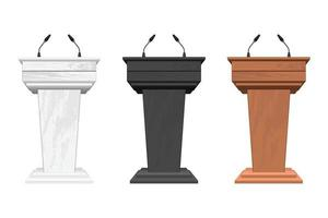 Wooden podium tribune with microphones vector illustration isolated on white