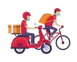 delivery workers with face masks and motorcycle and bicycle vector