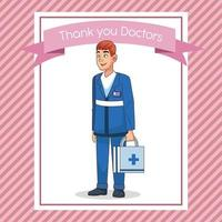professional paramedic with medical kit character vector